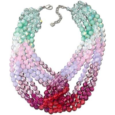 Swarovski collana con cristalli con colori sfumati verde, rosa e rosso