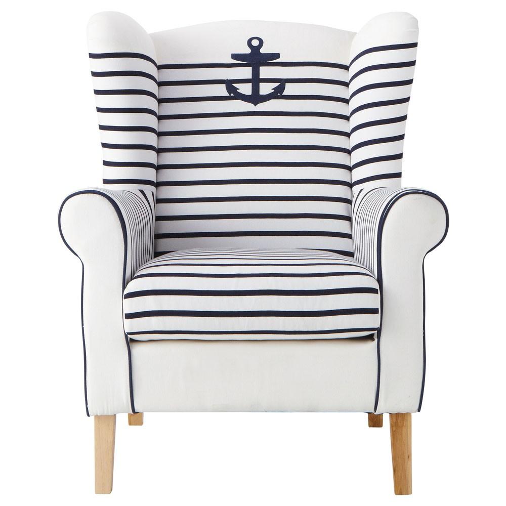 poltrona con ancora corsaire maisons du monde. Black Bedroom Furniture Sets. Home Design Ideas