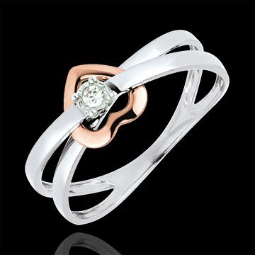 anello cuore brillante