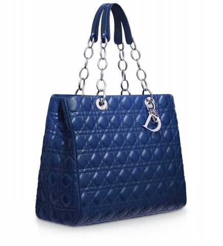 large blue leather dior soft shopping bag
