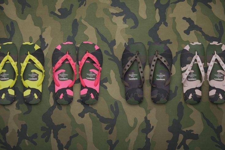 Havaianas e Valentino Infradito Camouflage con Borchie
